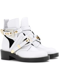Balenciaga Ceinture Leather Cut Out Boots White