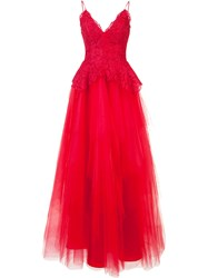 Nha Khanh Tulle Skirt Ball Gown Red