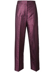 H Beauty And Youth Jacquard High Waisted Trousers Red