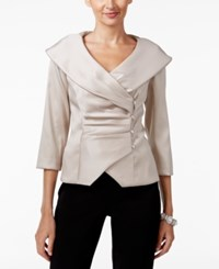 Alex Evenings Portrait Collar Wrap Blouse Champagne