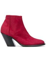 A.F.Vandevorst Side Zip Ankle Boots Red