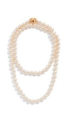 Wgaca What Goes Around Comes Around Chanel Gold Pearl Turnlock Long Necklace