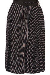 Sacai Pleated Striped Twill Wrap Skirt Black