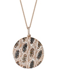 Effy Collection Confetti By Effy White 3 4 Ct. T.W. And Brown 5 8 Ct. T.W. Diamond Pendant Necklace In 14K Rose Gold