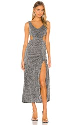 Kendall Kylie Ruched Cut Out Maxi Dress In Metallic Silver. Sporty Zebra Twinkle