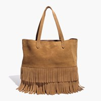 Madewell The Transport Tote Suede Fringe Edition Deep Chestnut