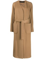 Federica Tosi Belted Single Breasted Coat Neutrals
