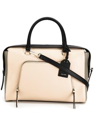Dkny Front Zip Pocket Tote Nude Neutrals