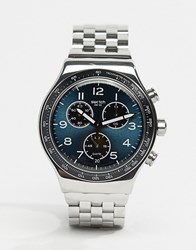 Swatch Yvs423g Irony Boxengasse Chronograph Bracelet Watch In Silver