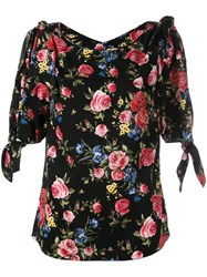Dolce And Gabbana Floral Blouse With Double Tie Sleeves Black