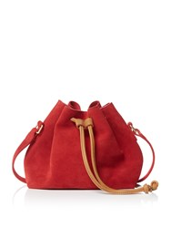 Maison De Nimes Meghan Suede Bucket Bag Red