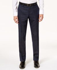 Bar Iii Men's Slim Fit Active Stretch Navy Tan Windowpane Suit Pants Created For Macy's