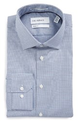 Calibrate Men's Big And Tall Trim Fit Non Iron Check Stretch Dress Shirt Blue Regatta