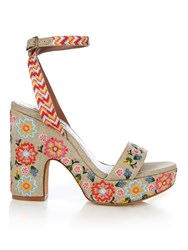 Tabitha Simmons Calla Linen Embroidered Platform Sandals Cream Multi