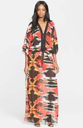 Just Cavalli 'Explosive Nature' Print Chiffon Caftan Maxi Dress Black Variant