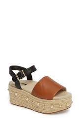 Kenneth Cole New York Indra Espadrille Platform Sandal Cognac Leather