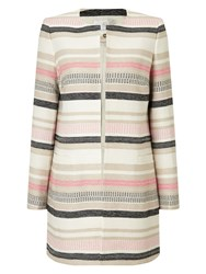 Jacques Vert Stripe Textured Jacket Multi Coloured Multi Coloured