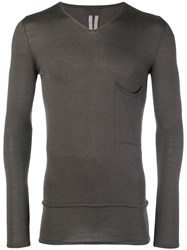 Rick Owens Slim V Neck Sweater Grey