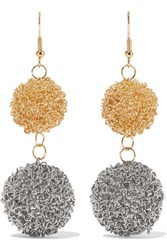 Kenneth Jay Lane Gold And Silver Plated Earrings One Size