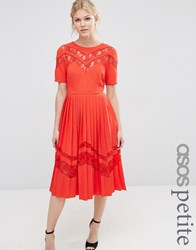 Asos Petite Premium Pleated Midi Dress With Lace Inserts Red