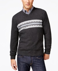 Club Room Cashmere Fair Isle V Neck Sweater Only At Macy's Dark Charcoal Heather