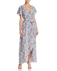 Ella Moss Faux Wrap Floral Print Maxi Dress Gray