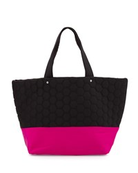 Neiman Marcus Honeycomb Colorblock Neoprene Tote Bag Black Magenta