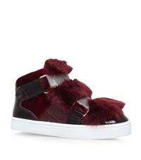 Carvela Kurt Geiger Lovely Faux Fur Sneakers Female Wine