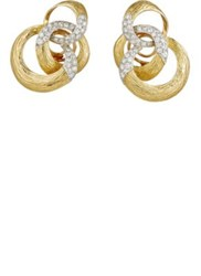 Mahnaz Collection Vintage Women's Diamond Embellished Entwined Rings Studs Gold