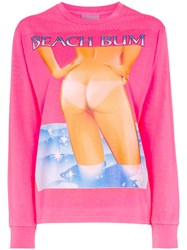 Ashley Williams Graphic Print Long Sleeved Cotton T Shirt Pink