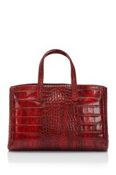 Lisa Minardi Croc Embossed Leather Handbag Red