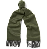 Begg And Co Arran Two Tone Cashmere Scarf Army Green