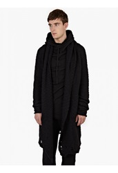 Thom Krom Black Merino Wool Draped Cardigan