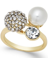 Inc International Concepts Gold Tone Crystal Pave Imitation Pearl Triple Cluster Ring Only At Macy's