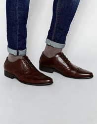 Asos Oxford Brogue Shoes In Brown Brown