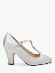 Rainbow Club Frankie T Bar Block Heel Court Shoes Ivory