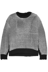 Rta Emmet Distressed Ribbed Lurex And Cotton Sweater Silver