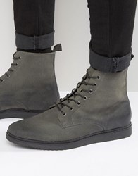 Asos Lace Up Boots In Grey Grey