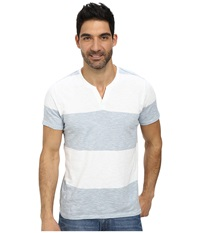 Dkny Short Sleeve Solid Feeder Stripe V Neck Henley Dusty Blue Men's Clothing