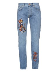Aries Lily Cat Embroidered Jeans