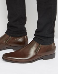 Asos Chelsea Boots In Brown Faux Leather With Zip Detail Brown