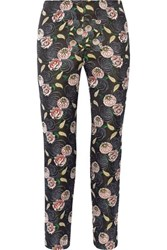 Suno Floral Jacquard Tapered Pants Black