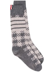 Thom Browne Gun Club Check Cashmere Socks Grey