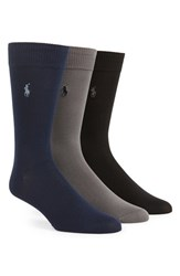 Men's Polo Ralph Lauren Socks Blue 3 Pack Online Only Navy Multi