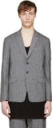 Diet Butcher Slim Skin Grey Metallic Embroidered Blazer