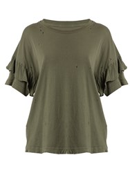 Current Elliott The Ruffle Roadie Cotton T Shirt Khaki