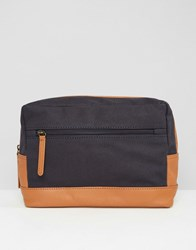 Asos Wash Bag In Leather And Canvas Brown Navy