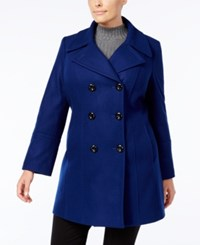 Anne Klein Plus Size Double Breasted Peacoat Blue Print