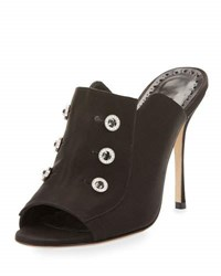 Manolo Blahnik Metellus Satin Mule Pump Black