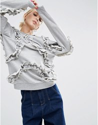 Asos Sweatshirt With All Over Frill Detail Grey Marl
